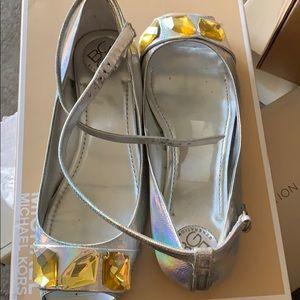 Bcbg open toed flats with yellow jeweled toe area